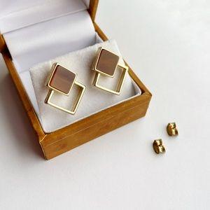 Cute Geometric Minimalistic Gold Brown Earrings
